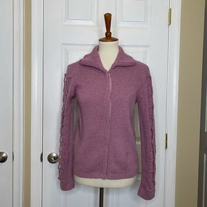MSUNDANCE Lilac Wool Collared Button Down Cardigan